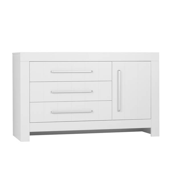 Calmo Pinio - Komoda 3 szuflady + drzwiczki - kolor biały