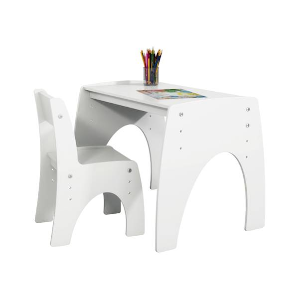 Klips Pinio - Zestaw (stoliczek + krzesełko - regulacja) - kolor biały