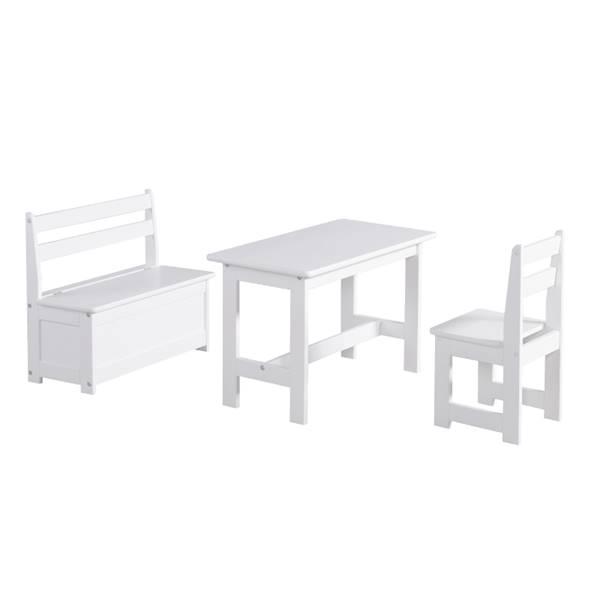 Maluch Pinio - Zestaw (stoliczek + krzesełko + ławoskrzynia) - kolor biały