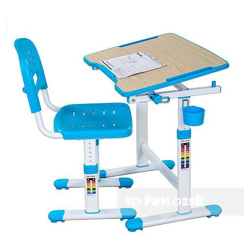 Biurko regulowane + krzesło dla dziecka - Piccolino II - kolor niebieski