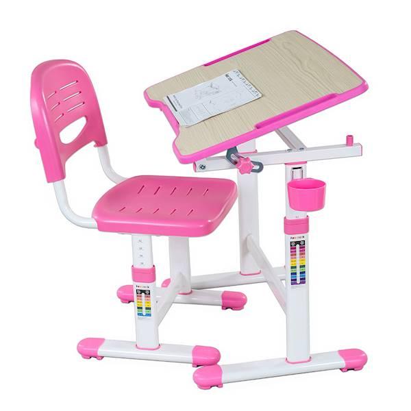 Biurko regulowane + krzesło dla dziecka - Piccolino II - kolor różowy