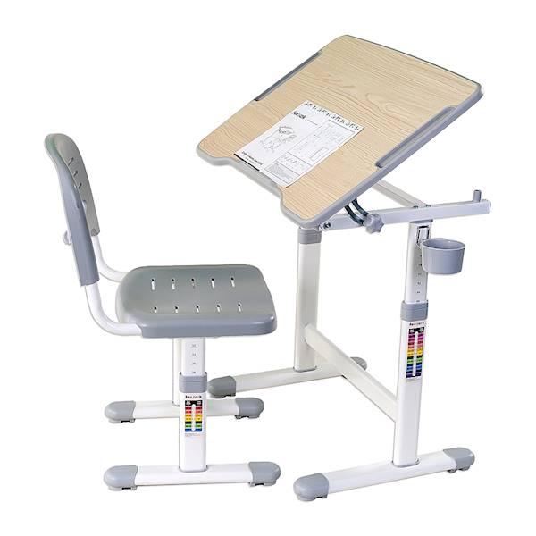 Biurko regulowane + krzesło dla dziecka - Piccolino II - kolor szary