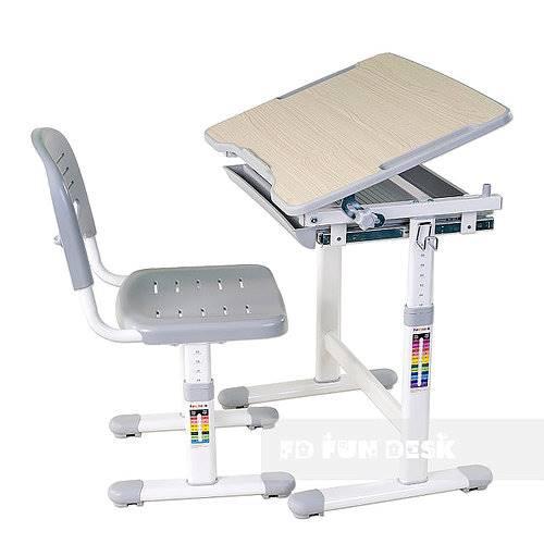 Biurko regulowane dla dziecka + krzesło + szuflada - Piccolino - kolor szary