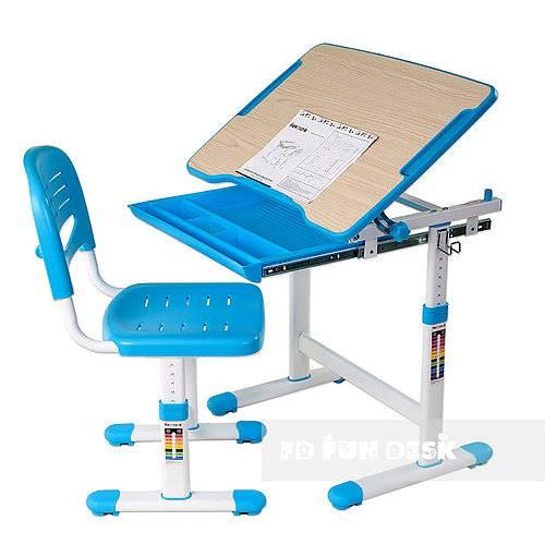 Biurko regulowane dla dziecka + krzesło + szuflada - Piccolino - kolor niebieski