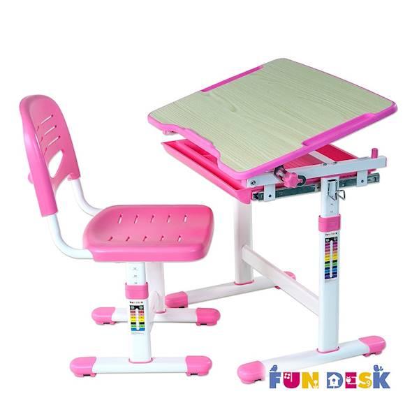 Biurko regulowane dla dziecka + krzesło + szuflada - Piccolino - kolor różowy