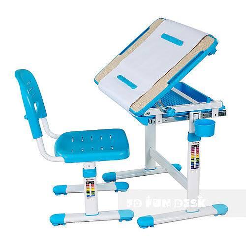 Biurko regulowane dla dziecka + krzesło + szuflada - Bambino - kolor niebieski