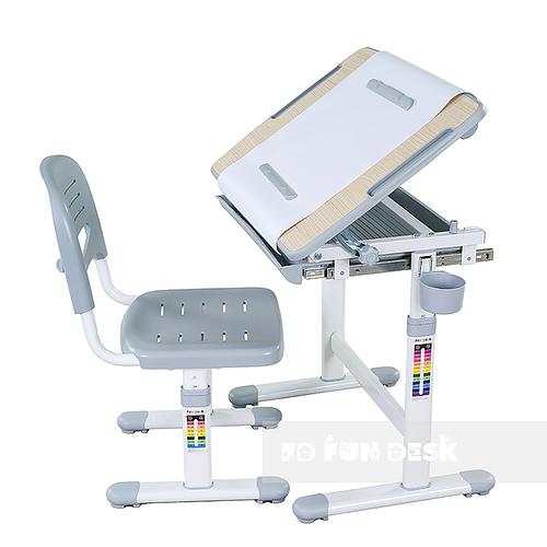 Biurko regulowane dla dziecka + krzesło + szuflada - Bambino - kolor szary