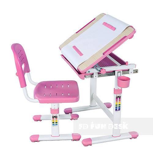 Biurko regulowane dla dziecka + krzesło + szuflada - Bambino - kolor różowy