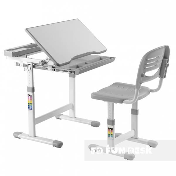 Biurko regulowane dla dziecka + krzesło + szuflada - Cantare - kolor szary