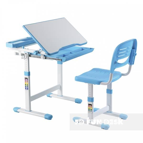 Biurko regulowane dla dziecka + krzesło + szuflada - Cantare - kolor niebieski