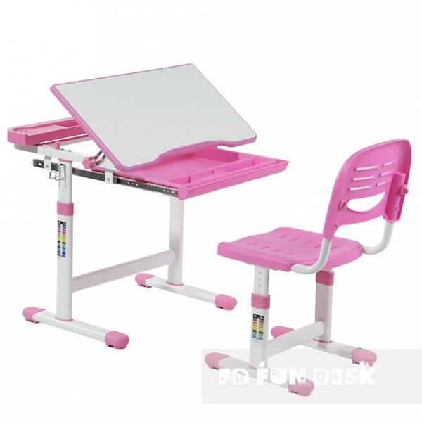 Biurko regulowane dla dziecka + krzesło + szuflada - Cantare - kolor różowy