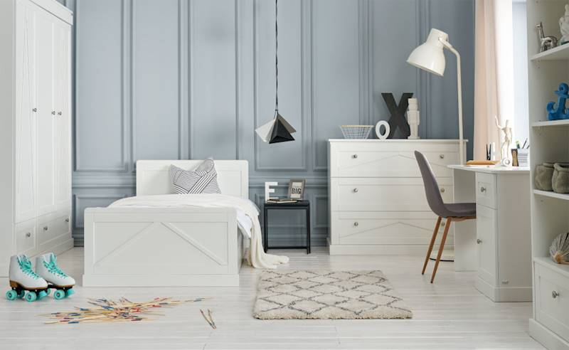 Pinio Marie - Zestaw mebli 2 (szafa + regał + łóżko 200x90 + szuflada + komoda + biurko)
