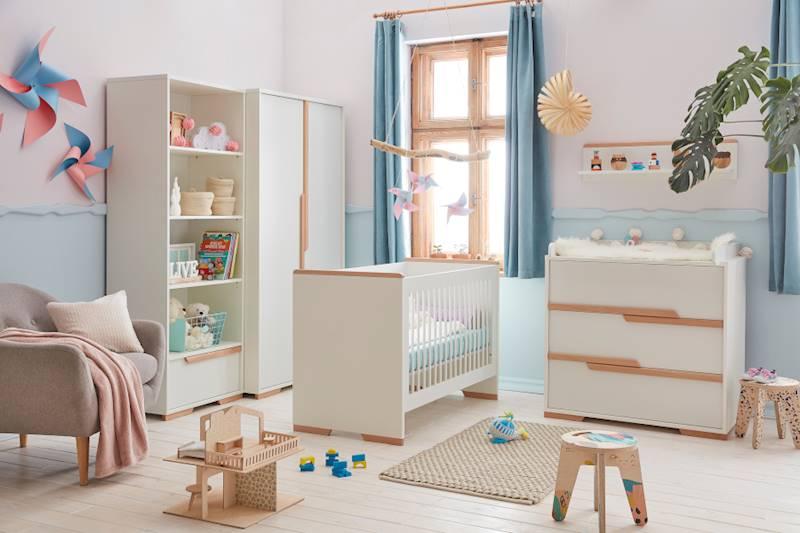 Pinio Snap - Zestaw mebli 1 (szafa + łóżeczko 120x60 + regał + komoda + przewijak + półka)
