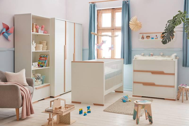 Pinio Snap - Zestaw mebli 2 (szafa + łóżeczko 140x70 + regał + komoda + przewijak + półka)
