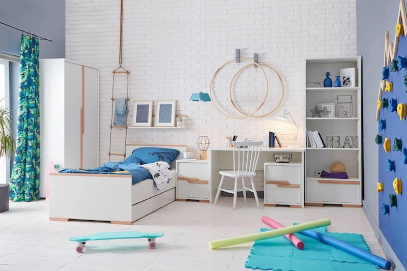 Pinio Snap - Zestaw mebli 3 (szafa + łóżko 200x90 + regał + szuflada + biurko + kontenerki + półka)