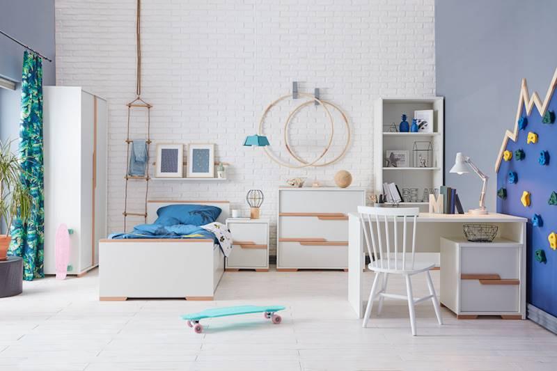 Pinio Snap - Zestaw mebli 4 (szafa + łóżko 200x90 + szuflada + regał + komoda + biurko + kontenerki + półka)