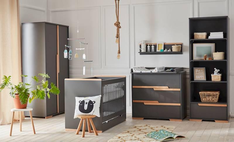 Pinio Snap ciemny - Zestaw mebli 1 (szafa + łóżeczko 120x60 + szuflada + regał + komoda + przewijak + półka)