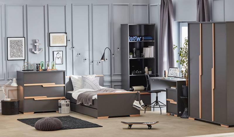 Pinio Snap ciemny - Zestaw mebli 3 (szafa + łóżko 200x90+ szuflada + komoda + + regał + biurko + kontenerek)