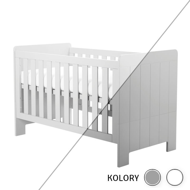 Calmo - Łóżeczko 140x70 - białe/szare
