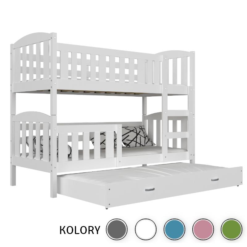 KUBUŚ - Łóżko piętrowe 3-os. 190x80 - korpus biały