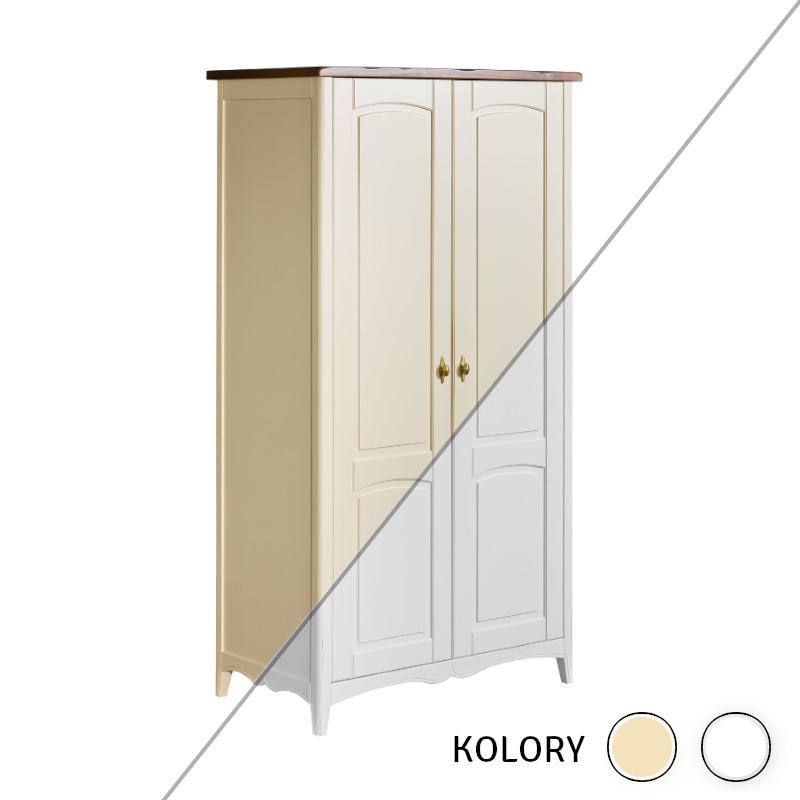 Prowansja - Szafa 2 drzwiowa - krem/ biel