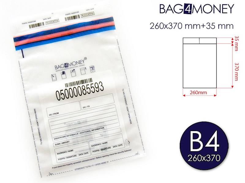B4 Bezpieczna Koperta (260x370 mm) - PRZEZROCZYSTA