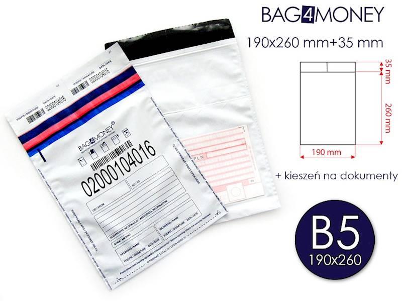 B5 Bezpieczna Koperta (190x260 mm) + KIESZEŃ BDW