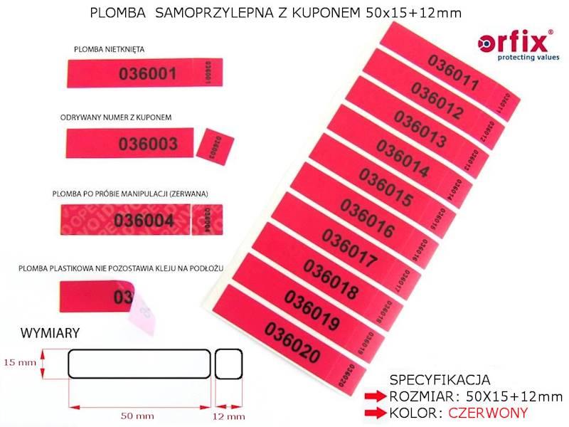 Plomby samopr. z kuponem 50x15+12 (podwójny numer)