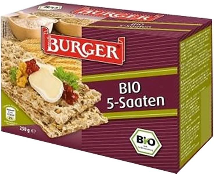 BIO Pieczywo chrupkie razowe 5 ziaren 250g Burger