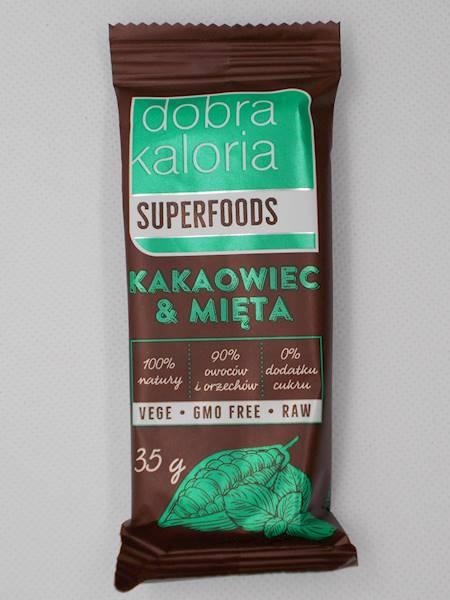 Baton owocowy kakaowiec & mięta bez dodatki cukru