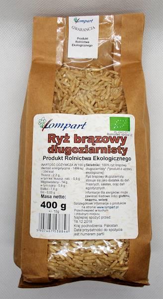 Bio ryż brązowy długoziarnisty 400g Lompart