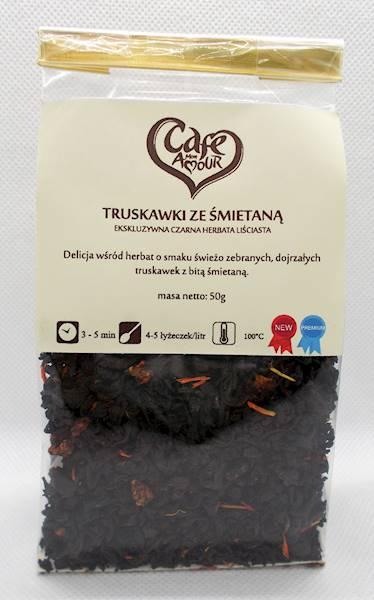 Herbata czarna truskawki ze śmietaną 50g Cafe Crea