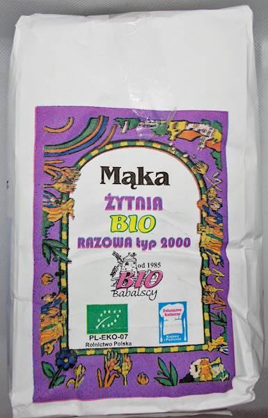 Mąka żytnia razowa bio 1kg typ 2000 Bio Babalscy