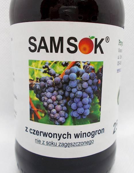 Sam sok z czerwonych winogron bez cukru 0,25l Vian