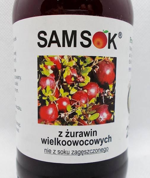 Sam sok z żurawin wielkoowocowych bez cukru 250ml