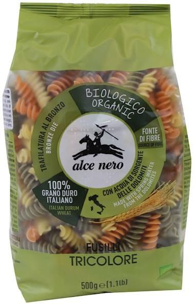 BIO Makaron semolinowy trójkolorowy 500g Alce Nero