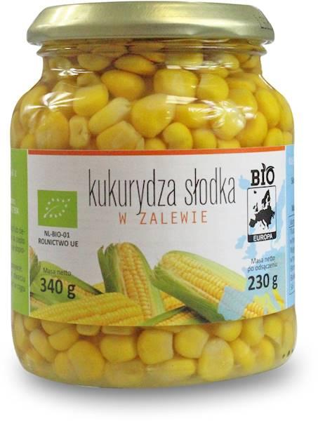 BIO Kukurydza słodka w zalewie w słoiku BIO Europa