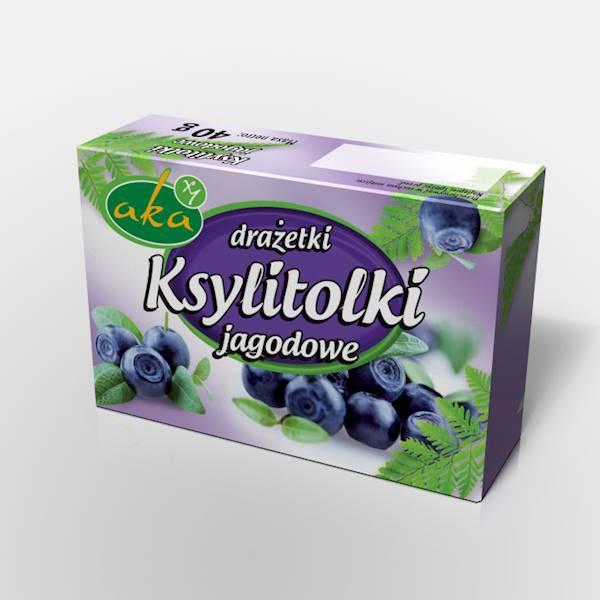Drażetki pudrowe ksylitolki 40g jagodowe Aka