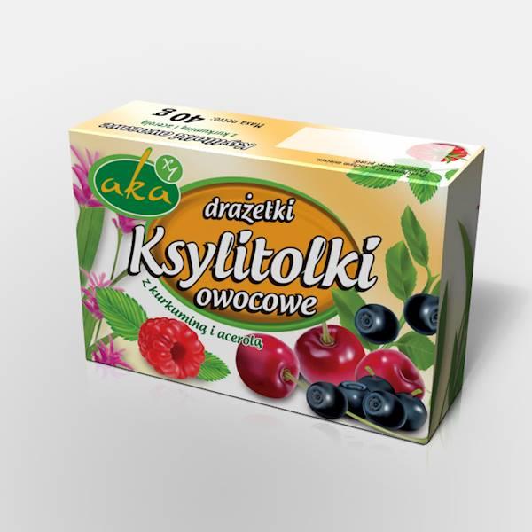 Drażetki pudrowe ksylitolki 40g owocowe Aka