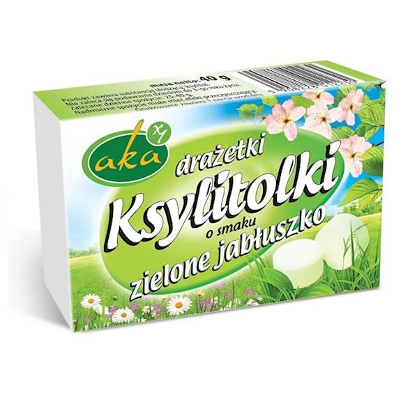 Drażetki pudrowe ksylitolki 40g zielone jabłuszko