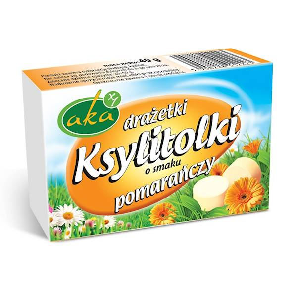 Drażetki pudrowe ksylitolki 40g pomarańcza Aka