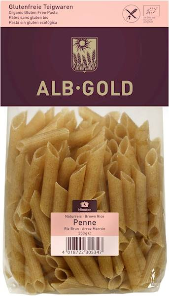 BIO Makaron ryżowy razowy penne b/g 250g Alb Gold
