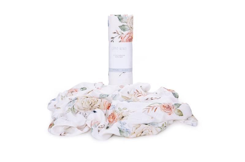 Qbana - Otulacz muślinowo-Bambusowy Vintage Flower