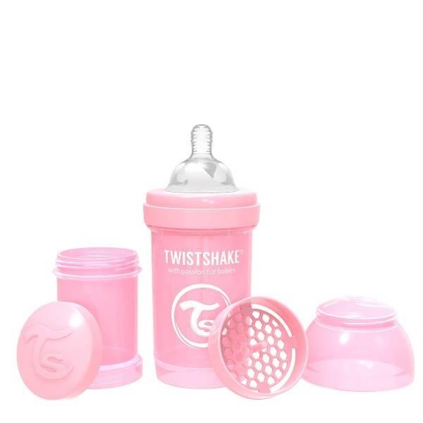 Twistshake - Butelka antykolkowa 180 ml różowa