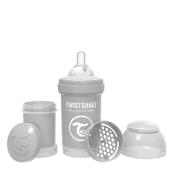 Twistshake - Butelka antykolkowa 180 ml szara