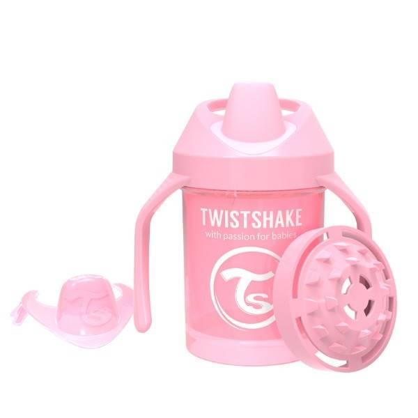 Twistshake - Kubek niekapek z uchwytami różowy