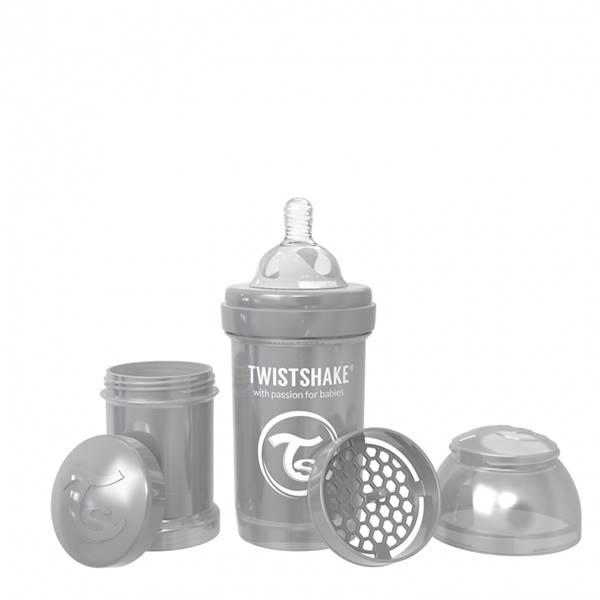 Twistshake - Butelka antykolkowa 180 ml pearl grey
