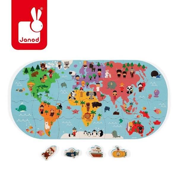 Janod - Puzzle do kąpieli Mapa świata 28 szt