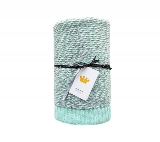 Lullalove - Ciepły koc bawełniany z wełną miętowy