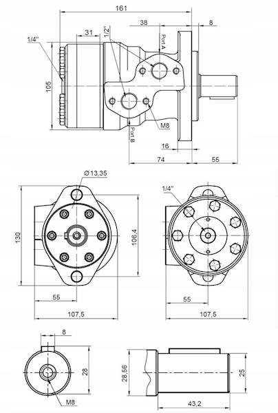 SILNIK HYDRAULICZNY BMR OMP SMR 160 cm3 WAŁEK 25mm